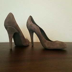 Grey Suede Scalloped-Edge Pumps